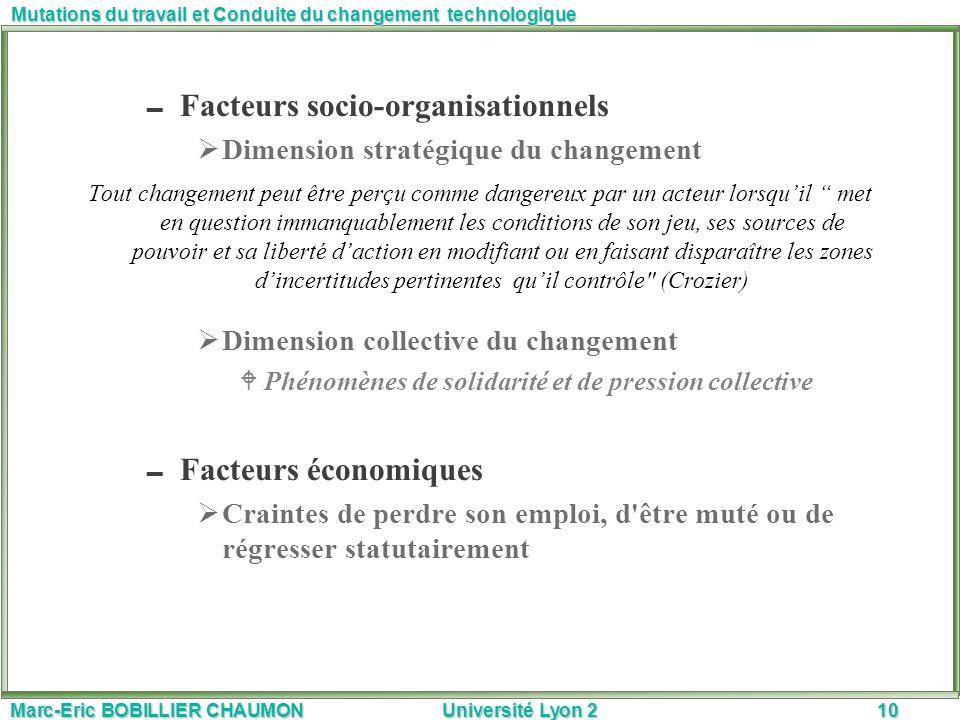 Marc-Eric BOBILLIER CHAUMON Université Lyon 210 Mutations du travail et Conduite du changement technologique Facteurs socio-organisationnels Dimension