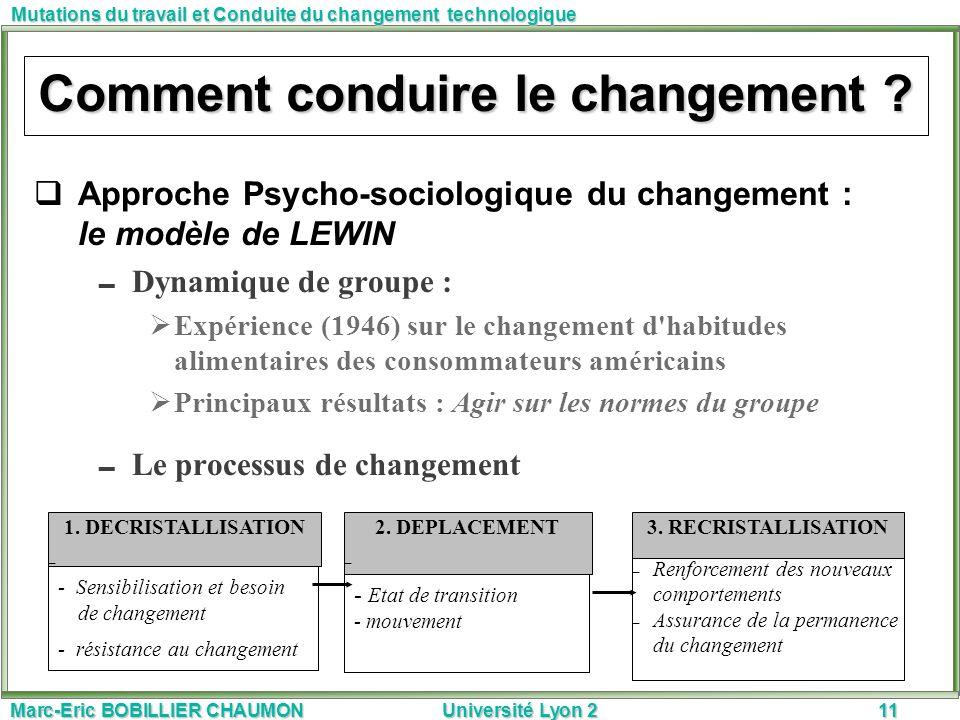 Marc-Eric BOBILLIER CHAUMON Université Lyon 211 Mutations du travail et Conduite du changement technologique Approche Psycho-sociologique du changemen
