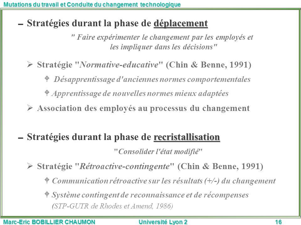 Marc-Eric BOBILLIER CHAUMON Université Lyon 216 Mutations du travail et Conduite du changement technologique déplacement Stratégies durant la phase de