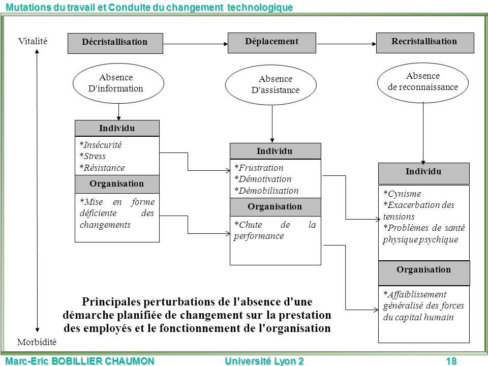 Marc-Eric BOBILLIER CHAUMON Université Lyon 218 Mutations du travail et Conduite du changement technologique Principales perturbations de l'absence d'