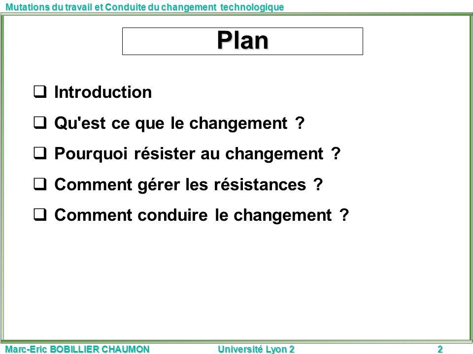 Marc-Eric BOBILLIER CHAUMON Université Lyon 22 Mutations du travail et Conduite du changement technologique Plan Introduction Qu'est ce que le changem