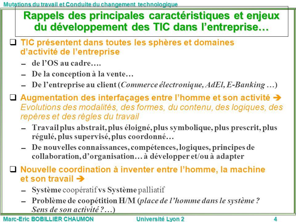 Marc-Eric BOBILLIER CHAUMON Université Lyon 24 Mutations du travail et Conduite du changement technologique Rappels des principales caractéristiques e