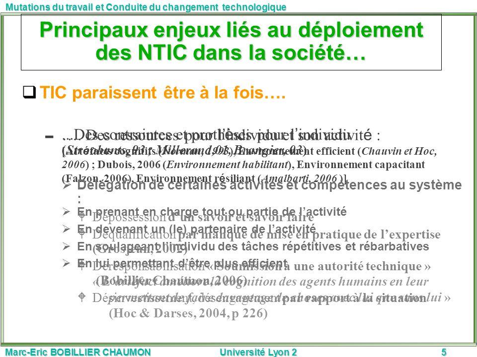 Marc-Eric BOBILLIER CHAUMON Université Lyon 25 Mutations du travail et Conduite du changement technologique Principaux enjeux liés au déploiement des