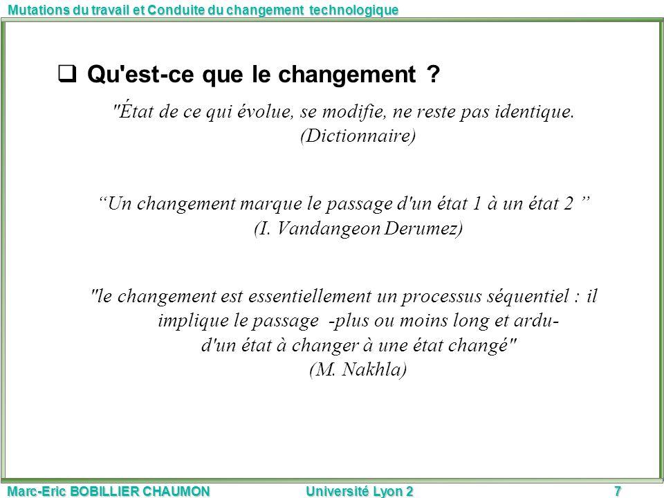 Marc-Eric BOBILLIER CHAUMON Université Lyon 27 Mutations du travail et Conduite du changement technologique Qu'est-ce que le changement ?