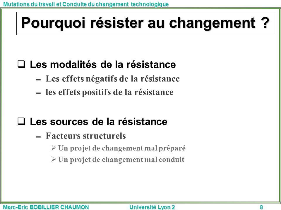 Marc-Eric BOBILLIER CHAUMON Université Lyon 28 Mutations du travail et Conduite du changement technologique Pourquoi résister au changement ? Les moda