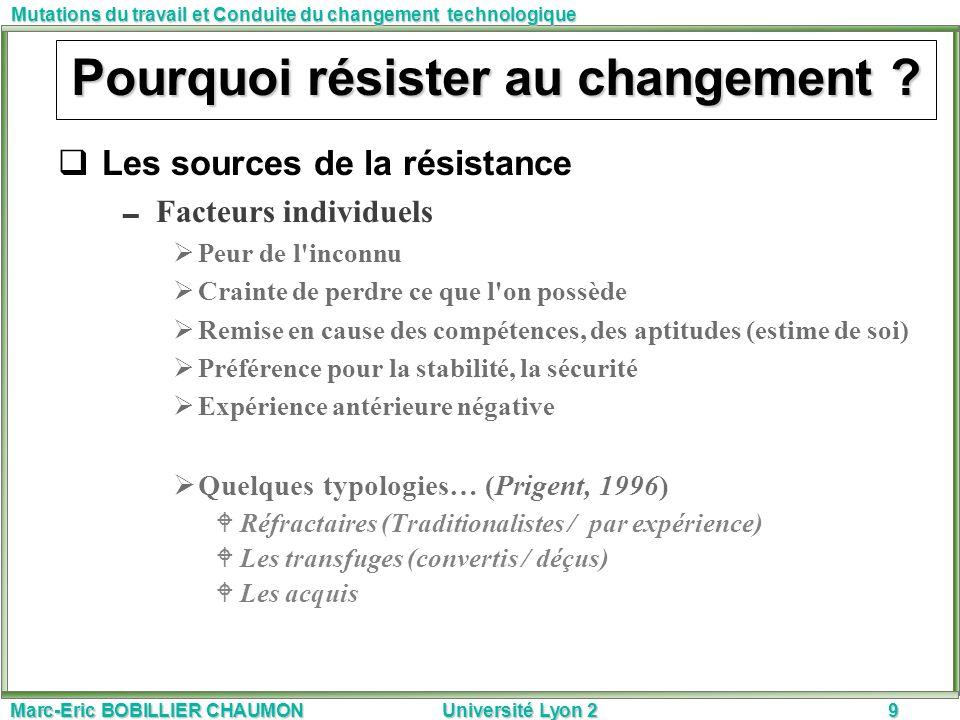 Marc-Eric BOBILLIER CHAUMON Université Lyon 29 Mutations du travail et Conduite du changement technologique Pourquoi résister au changement ? Les sour