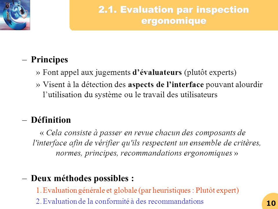 10 2.1. Evaluation par inspection ergonomique –Principes »Font appel aux jugements dévaluateurs (plutôt experts) »Visent à la détection des aspects de