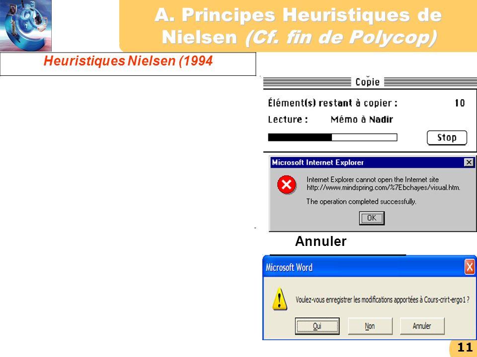 11 A. Principes Heuristiques de Nielsen (Cf. fin de Polycop) Heuristiques Nielsen (1994 Visibilité de l'état du système : Prévoir du feedback à l'util