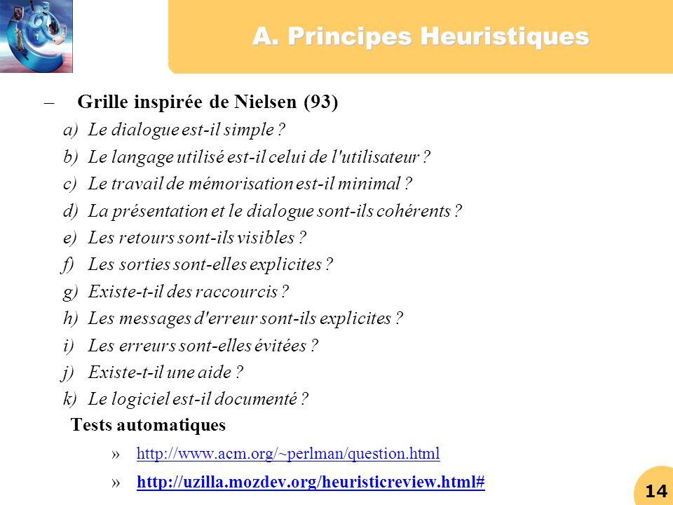 14 A. Principes Heuristiques – Grille inspirée de Nielsen (93) a)Le dialogue est-il simple ? b)Le langage utilisé est-il celui de l'utilisateur ? c)Le