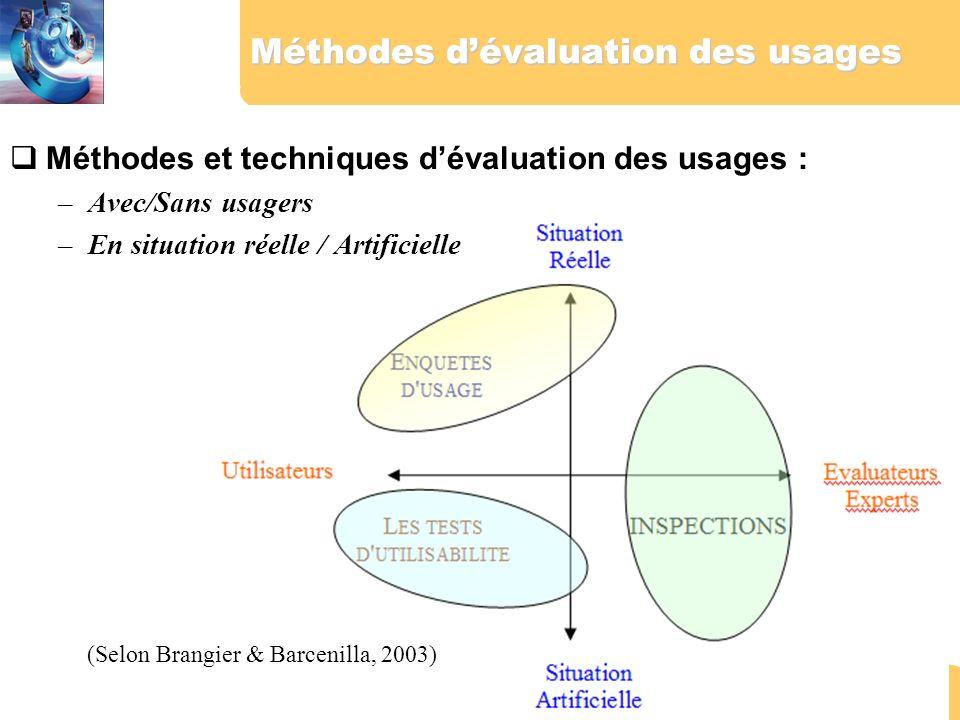 2 Méthodes dévaluation des usages Méthodes et techniques dévaluation des usages : –Avec/Sans usagers –En situation réelle / Artificielle (Selon Brangi