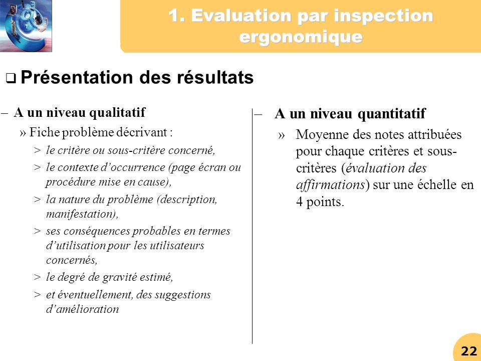 22 1. Evaluation par inspection ergonomique – A un niveau qualitatif » Fiche problème décrivant : >le critère ou sous-critère concerné, >le contexte d