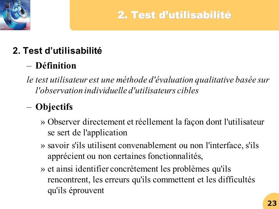 23 2. Test dutilisabilité –Définition le test utilisateur est une méthode d'évaluation qualitative basée sur l'observation individuelle d'utilisateurs