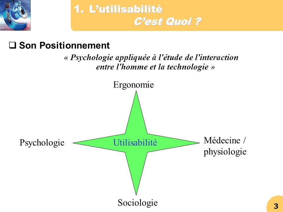 3 1.Lutilisabilité Cest Quoi ? Son Positionnement « Psychologie appliquée à l'étude de l'interaction entre l'homme et la technologie » Ergonomie Psych