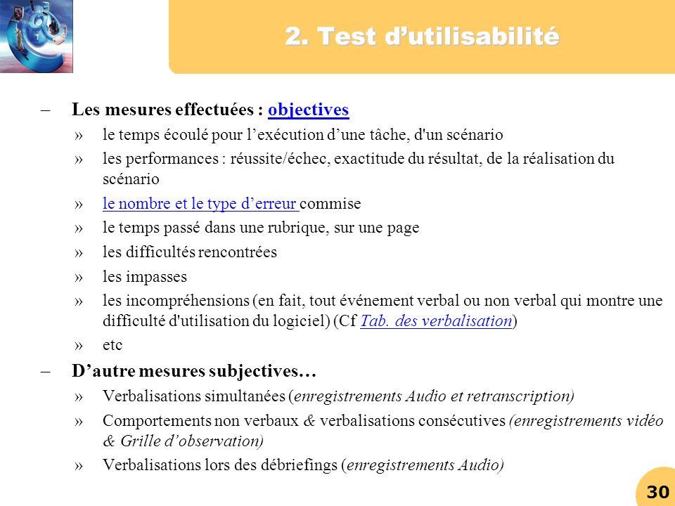 30 2. Test dutilisabilité –Les mesures effectuées : objectivesobjectives »le temps écoulé pour lexécution dune tâche, d'un scénario »les performances