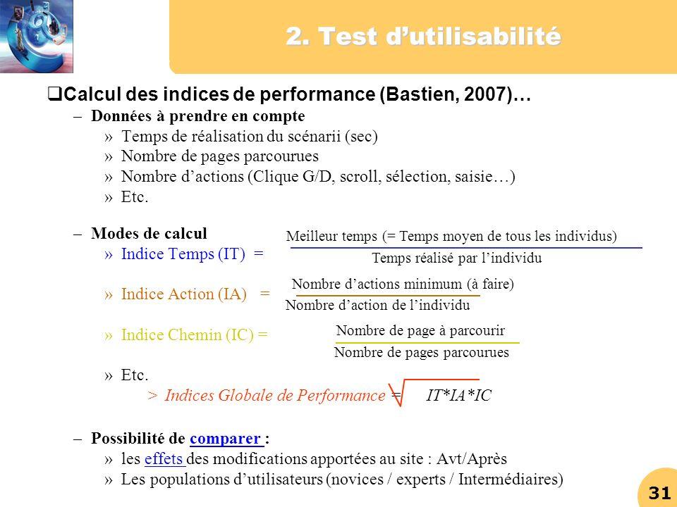 31 2. Test dutilisabilité Calcul des indices de performance (Bastien, 2007)… –Données à prendre en compte »Temps de réalisation du scénarii (sec) »Nom