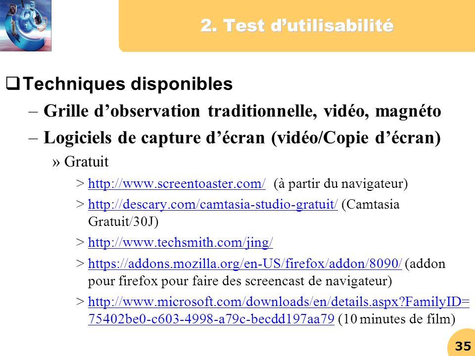 35 2. Test dutilisabilité Techniques disponibles –Grille dobservation traditionnelle, vidéo, magnéto –Logiciels de capture décran (vidéo/Copie décran)