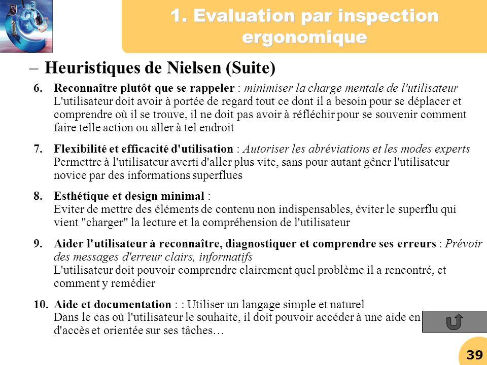 39 1. Evaluation par inspection ergonomique 6.Reconnaître plutôt que se rappeler : minimiser la charge mentale de l'utilisateur L'utilisateur doit avo