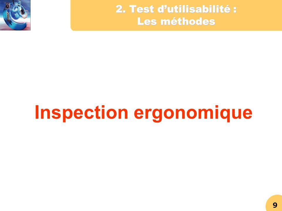 9 2. Test dutilisabilité : Les méthodes Inspection ergonomique