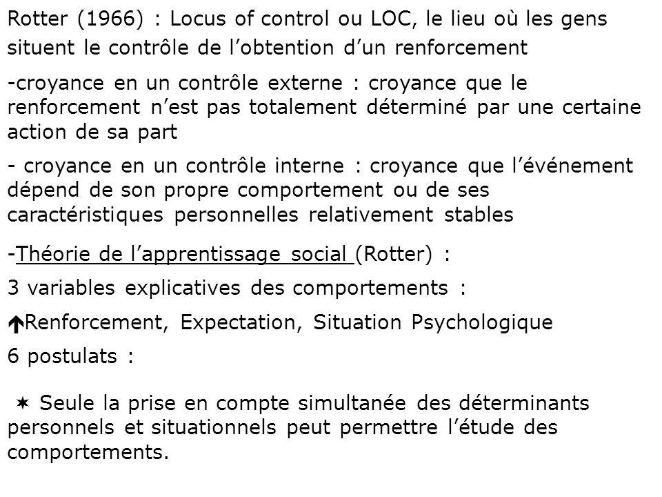 Rotter (1966) : Locus of control ou LOC, le lieu où les gens situent le contrôle de lobtention dun renforcement -croyance en un contrôle externe : cro