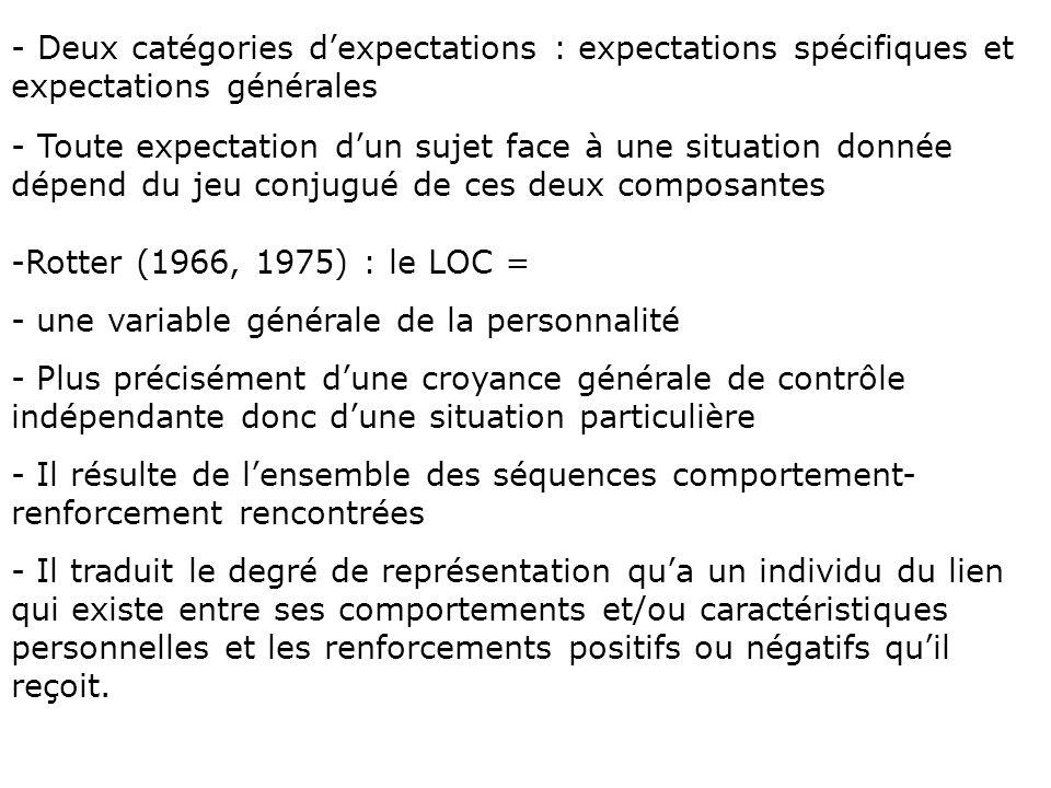 -Rotter (1966, 1975) : le LOC = - une variable générale de la personnalité - Plus précisément dune croyance générale de contrôle indépendante donc dun