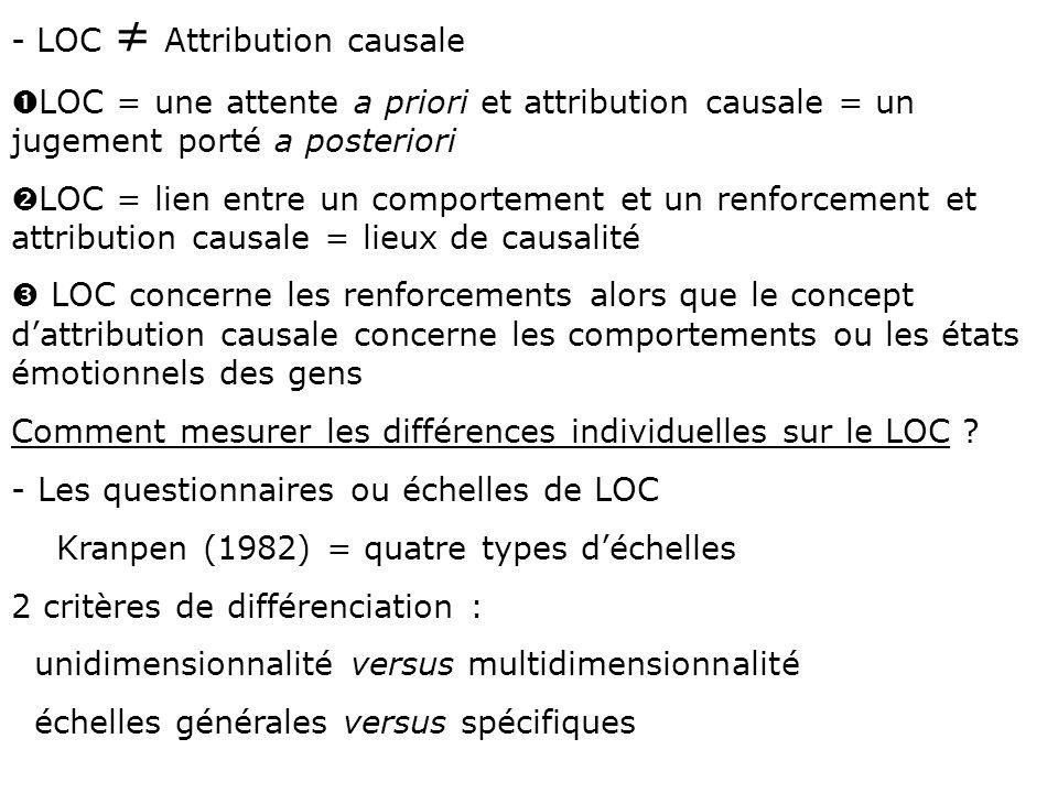 - LOC Attribution causale Œ LOC = une attente a priori et attribution causale = un jugement porté a posteriori  LOC = lien entre un comportement et u