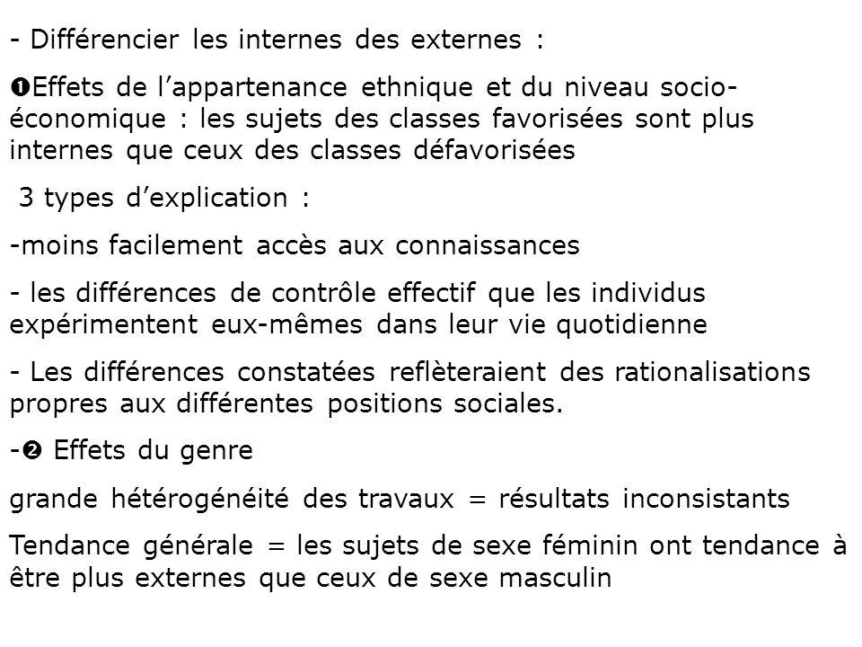 - Différencier les internes des externes : Œ Effets de lappartenance ethnique et du niveau socio- économique : les sujets des classes favorisées sont
