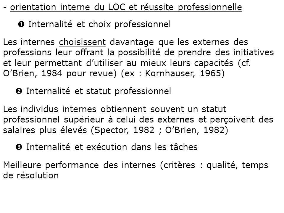 - orientation interne du LOC et réussite professionnelle Internalité et choix professionnel Les internes choisissent davantage que les externes des pr