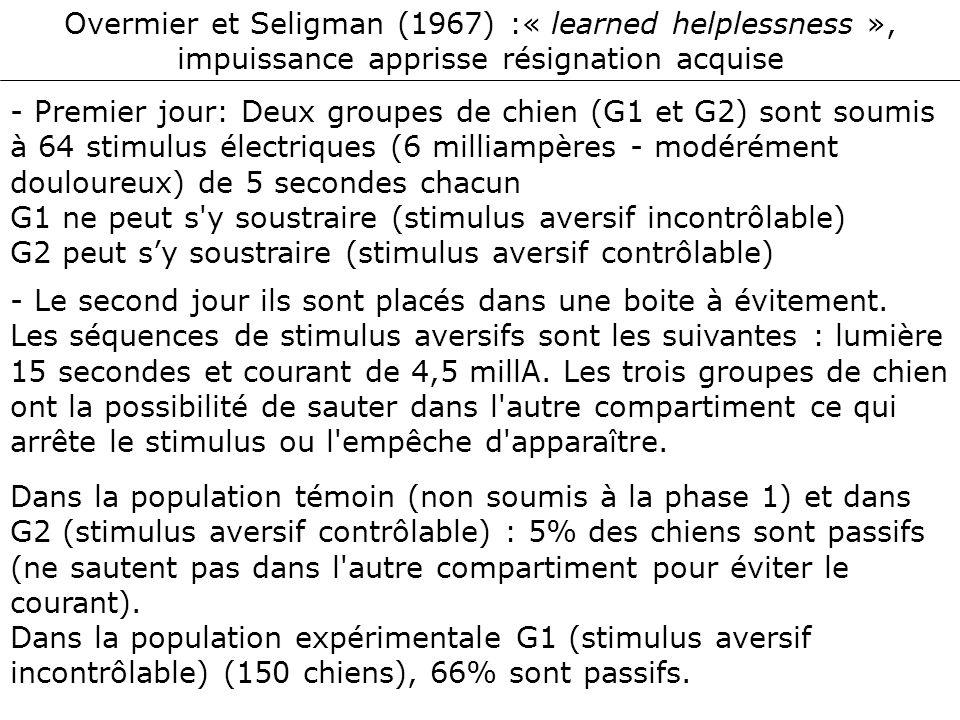 Overmier et Seligman (1967) :« learned helplessness », impuissance apprisse résignation acquise - Premier jour: Deux groupes de chien (G1 et G2) sont