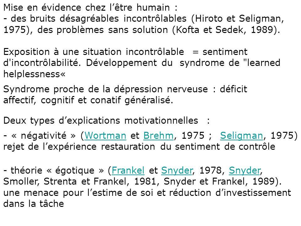 explications cognitives : -« interférences cognitives » (Kuhl, 1981) : Réduction des ressources attentionnelles du sujetKuhl - théorie « informationnelle » (Sedek et Kofta, 1990) : état dépuisement cognitif, traitement heuristique de linformation entraînerait les baisses de performances observéesSedekKofta - Conséquences bénéfiques entraînées par lexposition à des stimulations contrôlables (Glass et Singer, 1972 ; Mineka et Henderson, 1985) - Bénéfices résultant de la maîtrise effective de renforcements positifs.