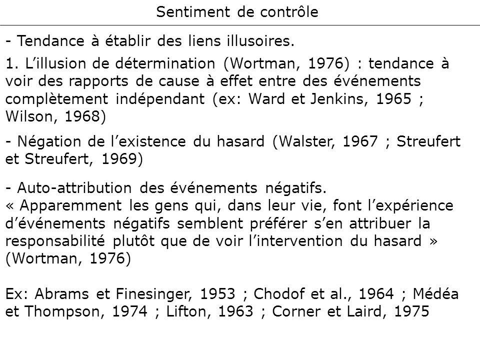Sentiment de contrôle - Tendance à établir des liens illusoires. 1. Lillusion de détermination (Wortman, 1976) : tendance à voir des rapports de cause