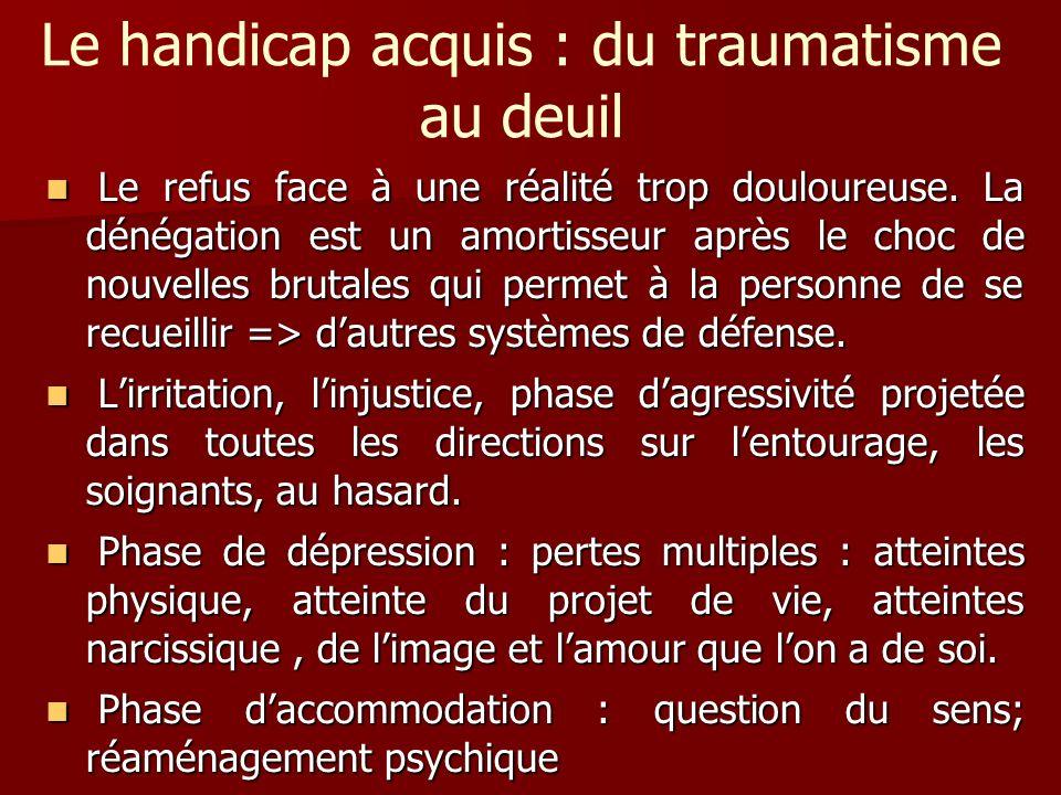 Le handicap acquis : du traumatisme au deuil Le refus face à une réalité trop douloureuse. La dénégation est un amortisseur après le choc de nouvelles