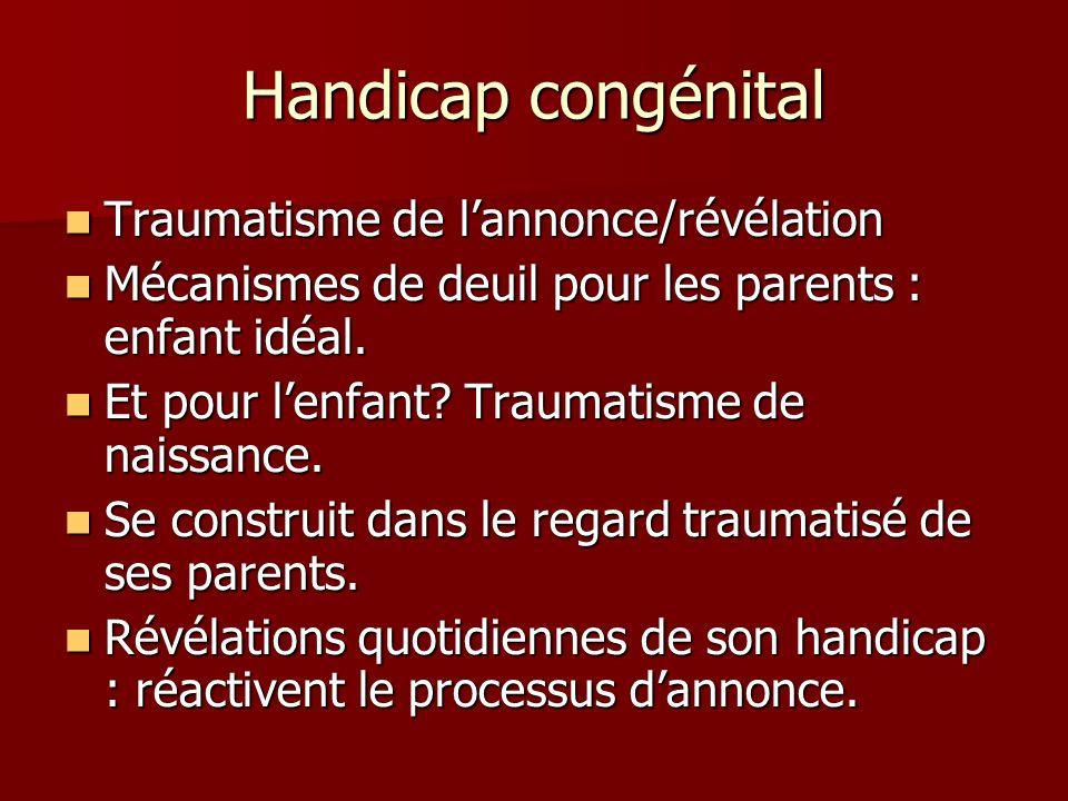 Handicap congénital Traumatisme de lannonce/révélation Traumatisme de lannonce/révélation Mécanismes de deuil pour les parents : enfant idéal. Mécanis