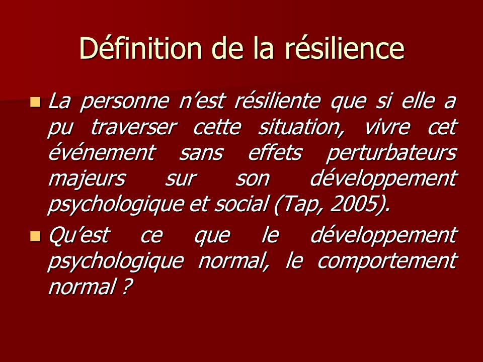 Définition de la résilience La personne nest résiliente que si elle a pu traverser cette situation, vivre cet événement sans effets perturbateurs maje
