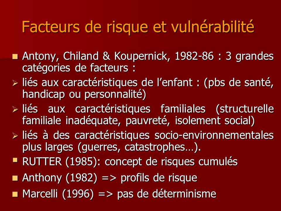 Facteurs de risque et vulnérabilité Facteurs de risque et vulnérabilité Antony, Chiland & Koupernick, 1982-86 : 3 grandes catégories de facteurs : Ant