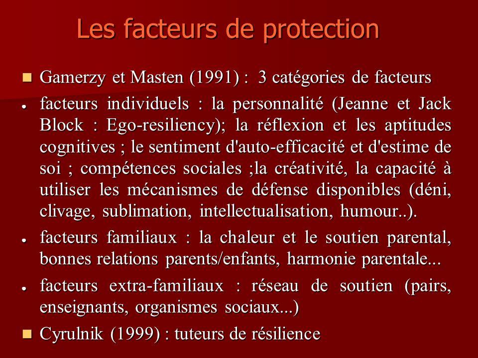 Les facteurs de protection Gamerzy et Masten (1991) : 3 catégories de facteurs Gamerzy et Masten (1991) : 3 catégories de facteurs facteurs individuel