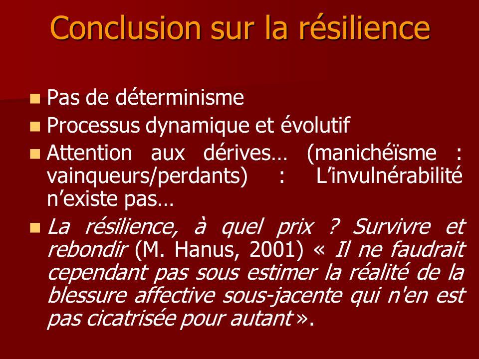 Conclusion sur la résilience Pas de déterminisme Processus dynamique et évolutif Attention aux dérives… (manichéïsme : vainqueurs/perdants) : Linvulné