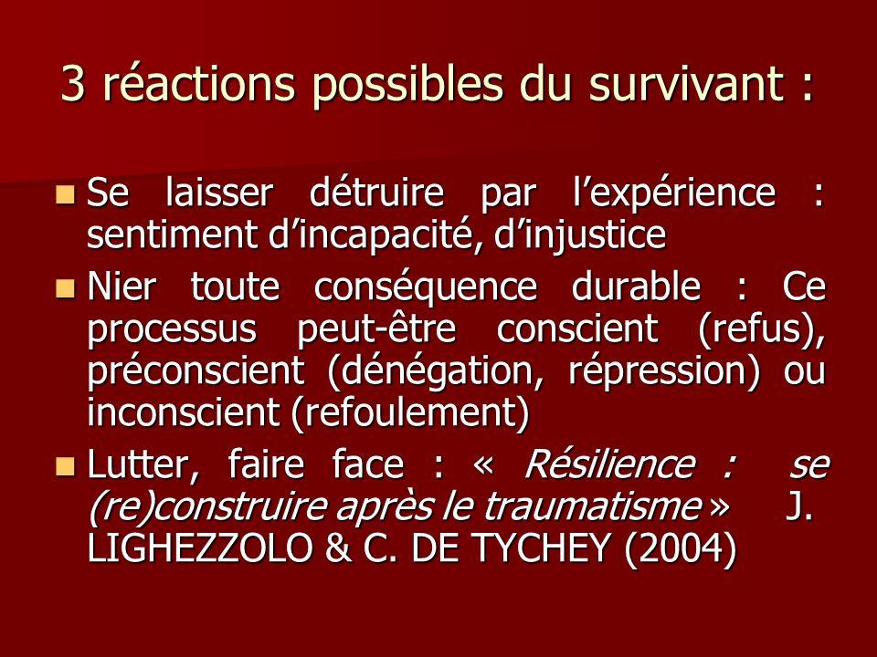 3 réactions possibles du survivant : Se laisser détruire par lexpérience : sentiment dincapacité, dinjustice Se laisser détruire par lexpérience : sen
