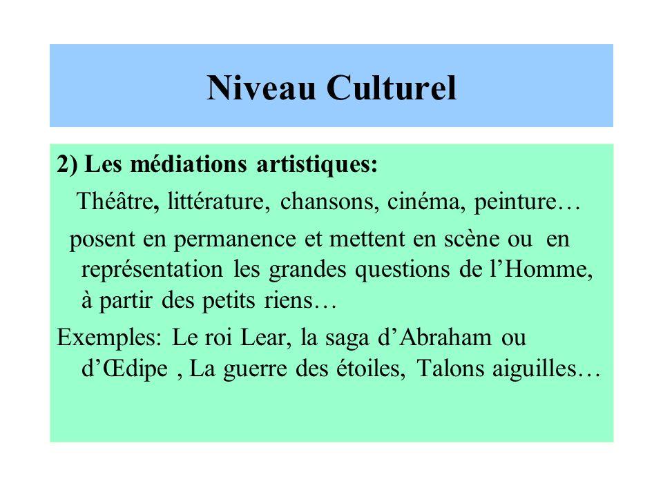 Niveau Culturel 2) Les médiations artistiques: Théâtre, littérature, chansons, cinéma, peinture… posent en permanence et mettent en scène ou en représ