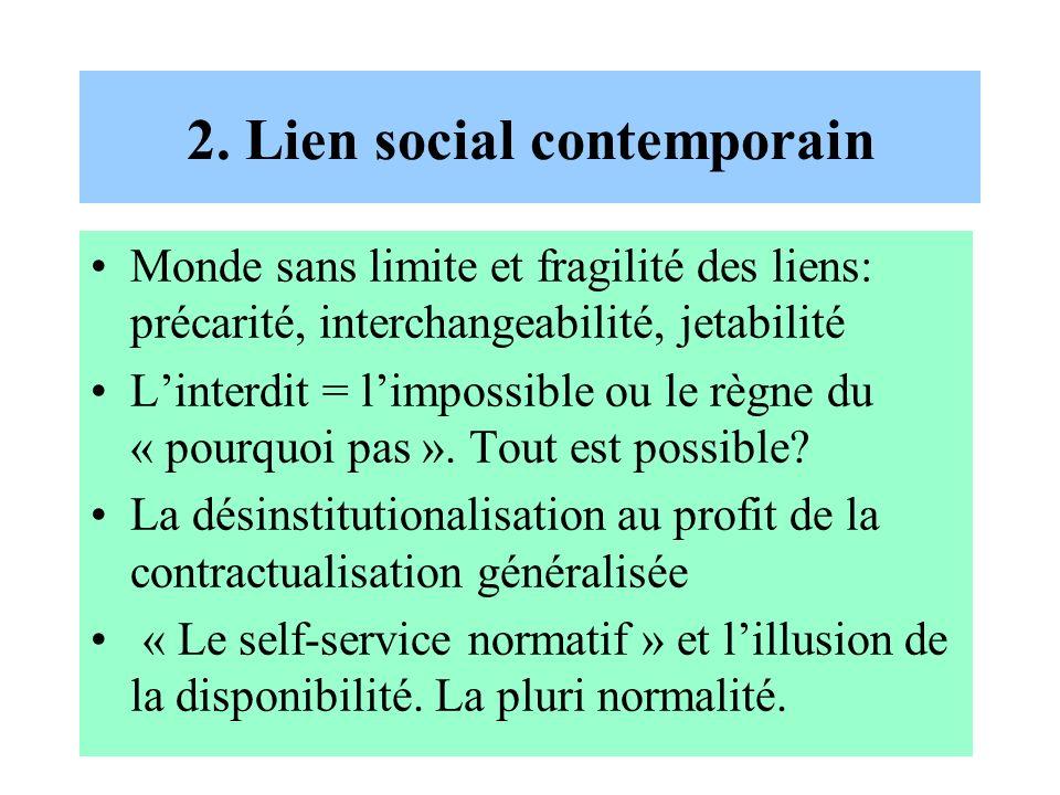 2. Lien social contemporain Monde sans limite et fragilité des liens: précarité, interchangeabilité, jetabilité Linterdit = limpossible ou le règne du