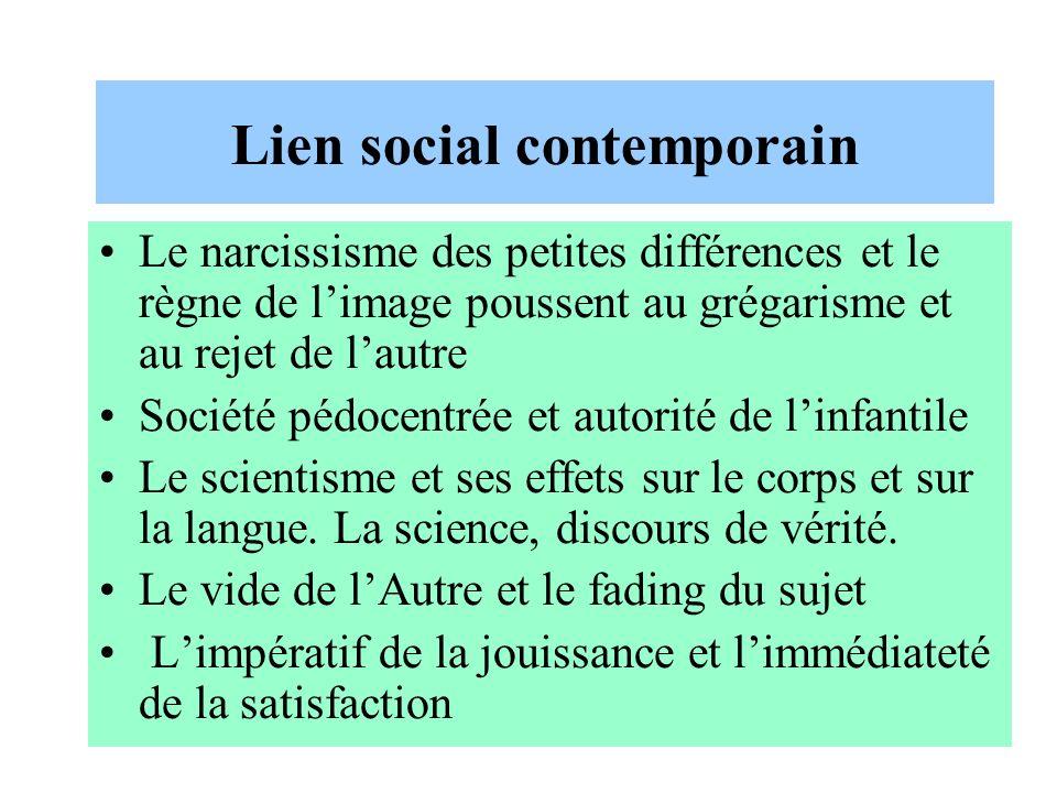 Lien social contemporain Le narcissisme des petites différences et le règne de limage poussent au grégarisme et au rejet de lautre Société pédocentrée