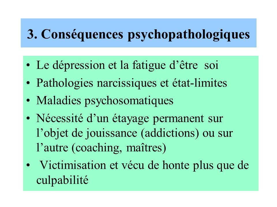3. Conséquences psychopathologiques Le dépression et la fatigue dêtre soi Pathologies narcissiques et état-limites Maladies psychosomatiques Nécessité