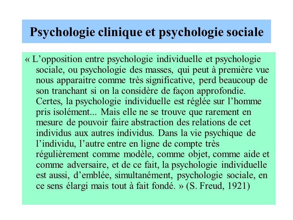 Psychologie clinique et psychologie sociale « Lopposition entre psychologie individuelle et psychologie sociale, ou psychologie des masses, qui peut à