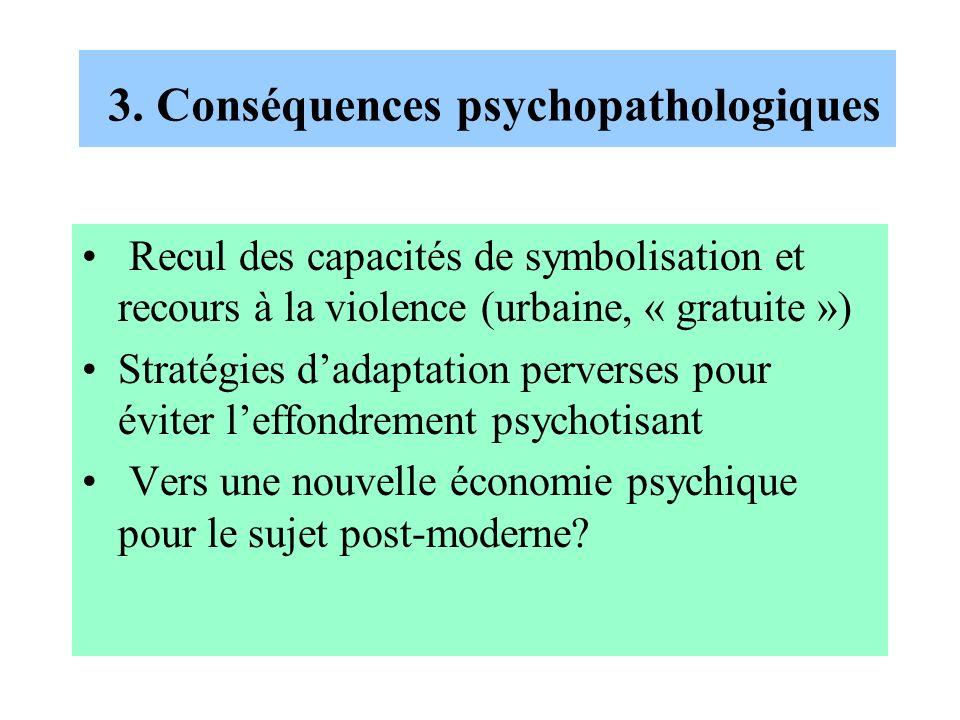 3. Conséquences psychopathologiques Recul des capacités de symbolisation et recours à la violence (urbaine, « gratuite ») Stratégies dadaptation perve