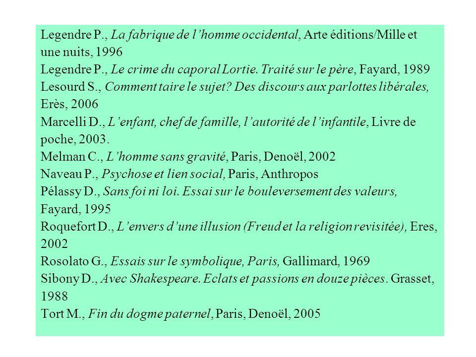 Legendre P., La fabrique de lhomme occidental, Arte éditions/Mille et une nuits, 1996 Legendre P., Le crime du caporal Lortie. Traité sur le père, Fay