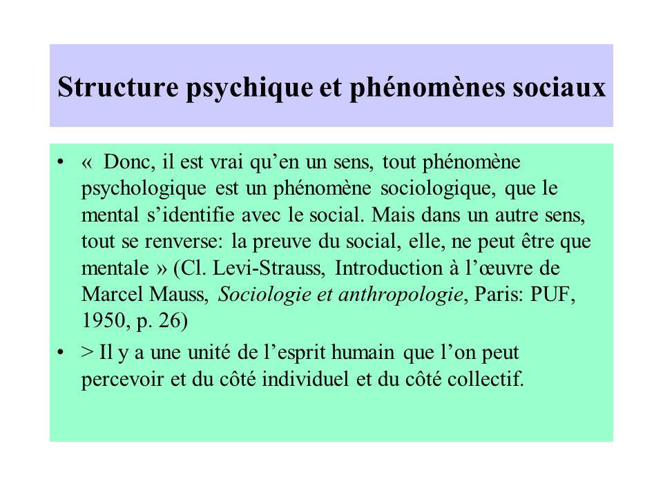 Structure psychique et phénomènes sociaux « Donc, il est vrai quen un sens, tout phénomène psychologique est un phénomène sociologique, que le mental