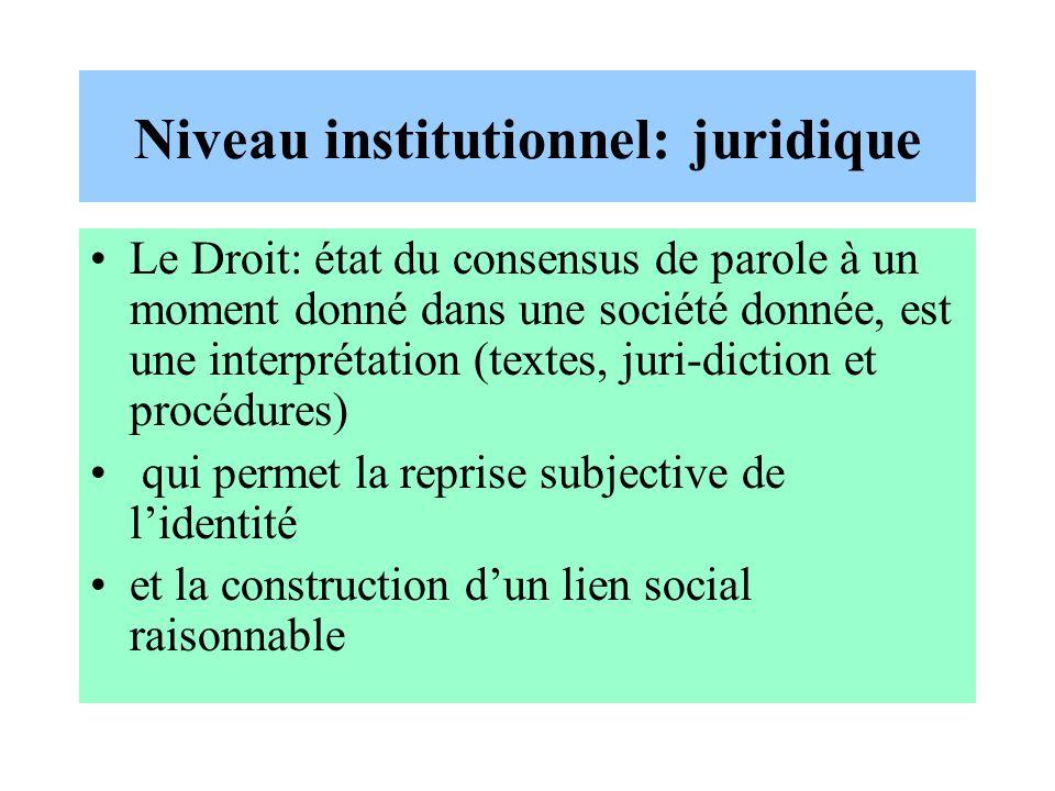 Niveau institutionnel: juridique Le Droit: état du consensus de parole à un moment donné dans une société donnée, est une interprétation (textes, juri