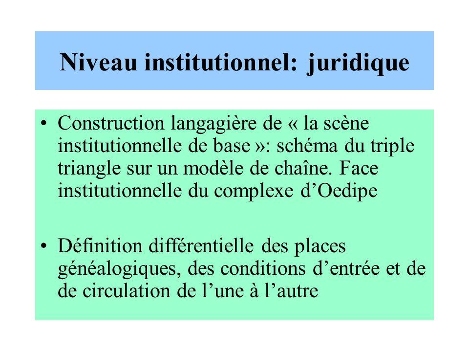 Niveau institutionnel: juridique Construction langagière de « la scène institutionnelle de base »: schéma du triple triangle sur un modèle de chaîne.