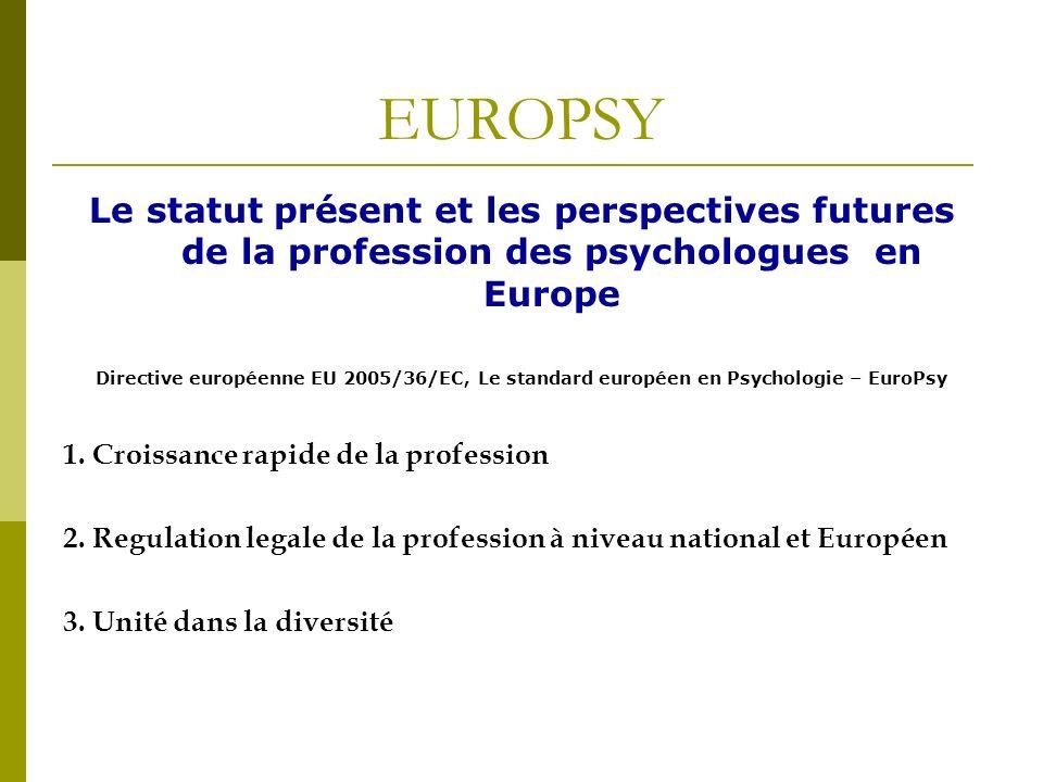 EUROPSY Le statut présent et les perspectives futures de la profession des psychologues en Europe Directive européenne EU 2005/36/EC, Le standard européen en Psychologie – EuroPsy 1.