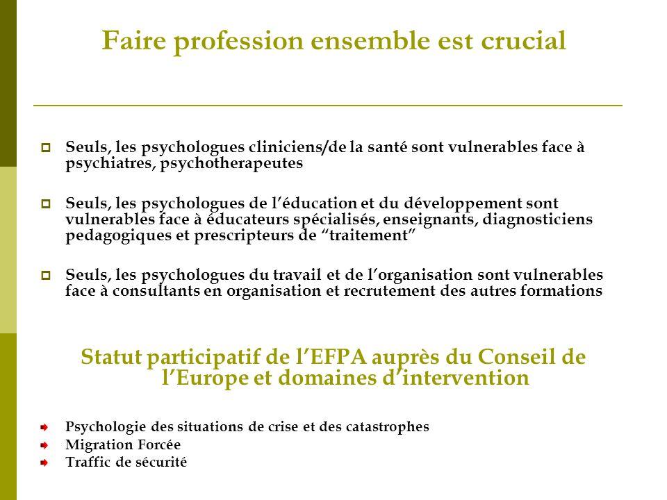 Faire profession ensemble est crucial Seuls, les psychologues cliniciens/de la santé sont vulnerables face à psychiatres, psychotherapeutes Seuls, les