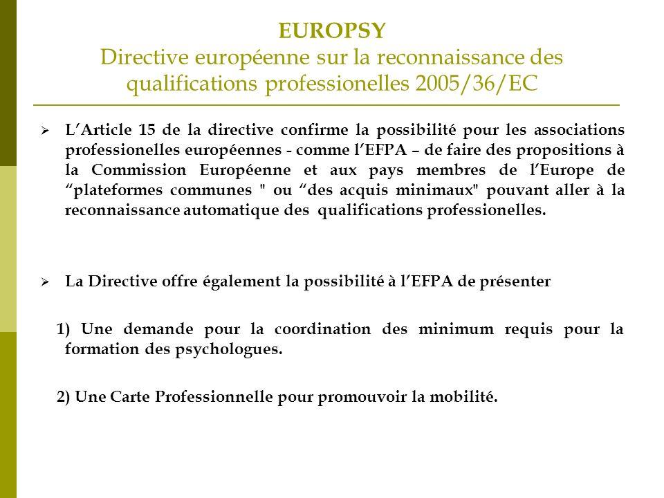 EUROPSY Directive européenne sur la reconnaissance des qualifications professionelles 2005/36/EC LArticle 15 de la directive confirme la possibilité pour les associations professionelles européennes - comme lEFPA – de faire des propositions à la Commission Européenne et aux pays membres de lEurope de plateformes communes ou des acquis minimaux pouvant aller à la reconnaissance automatique des qualifications professionelles.
